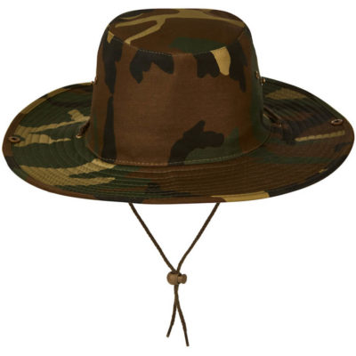 The Bush Hat is a cotton twill hat in a green camo print. With brass eyelets and studs, a clip up side brim and a cord with slide toggle for easy adjustment