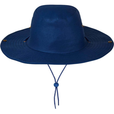 The Bush Hat is a cotton twill royal blue hat. With brass eyelets, studs and a clip up brim with a cord and slide toggle for easy adjustment