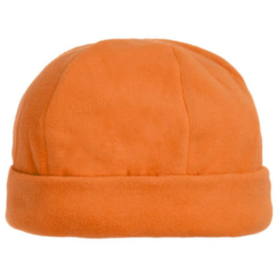 The Blizzard Beanie is a wind resistant polar fleece orange beanie with a structured cuff