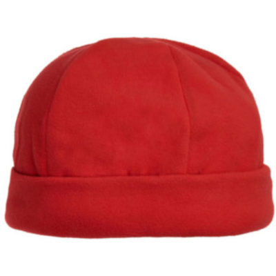 The Blizzard Beanie is a wind resistant polar fleece red beanie with a structured cuff