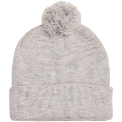 This Alpine Beanie in grey melange is acrylic knitted, with a Pom detailing and a fold up band.