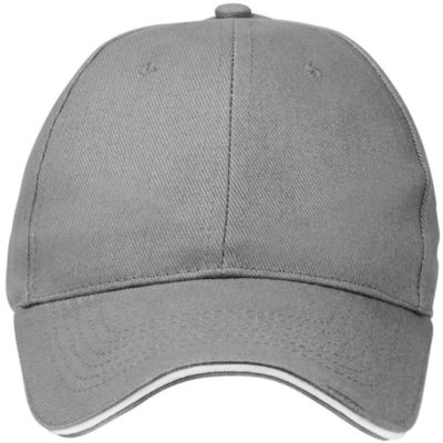 The Promo Sandwich Cap in the colour grey white has embroidered eyelets, a pre-curved peak and a self colour Velcro strap.