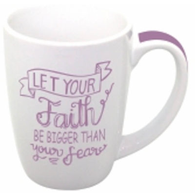 White Ceramic Summer Bullet Mug With Purple Colour Strip On Handle
