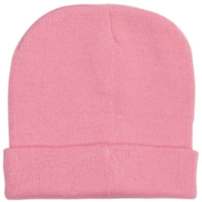 The Kids Aspen Beanie is pink 47g acrylic knitted stretchy beanie with a fold up band