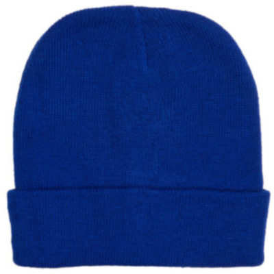 The Kids Aspen Beanie is royal blue acrylic knitted stretchy beanie with a fold up band