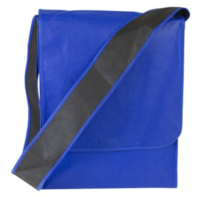 The Rectangle Shoulder Bag Blue is a COLOUR 80g non woven fabric bag with a PVC handle and velcro closure flap