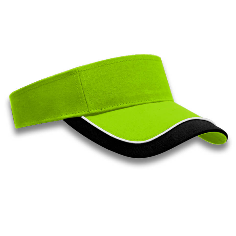 The Lime/White/Black Horizon Visor Is Made From Brushed Cotton Twill.The Features Include A Pre-Curved Peak, Piping, And Strap With Self Fabric On The Velcro Strap.