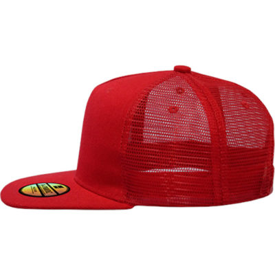 The A Frame Trucker Cap has a acrylic/mesh back, with a 5 panel structured and embroidered eyelets.