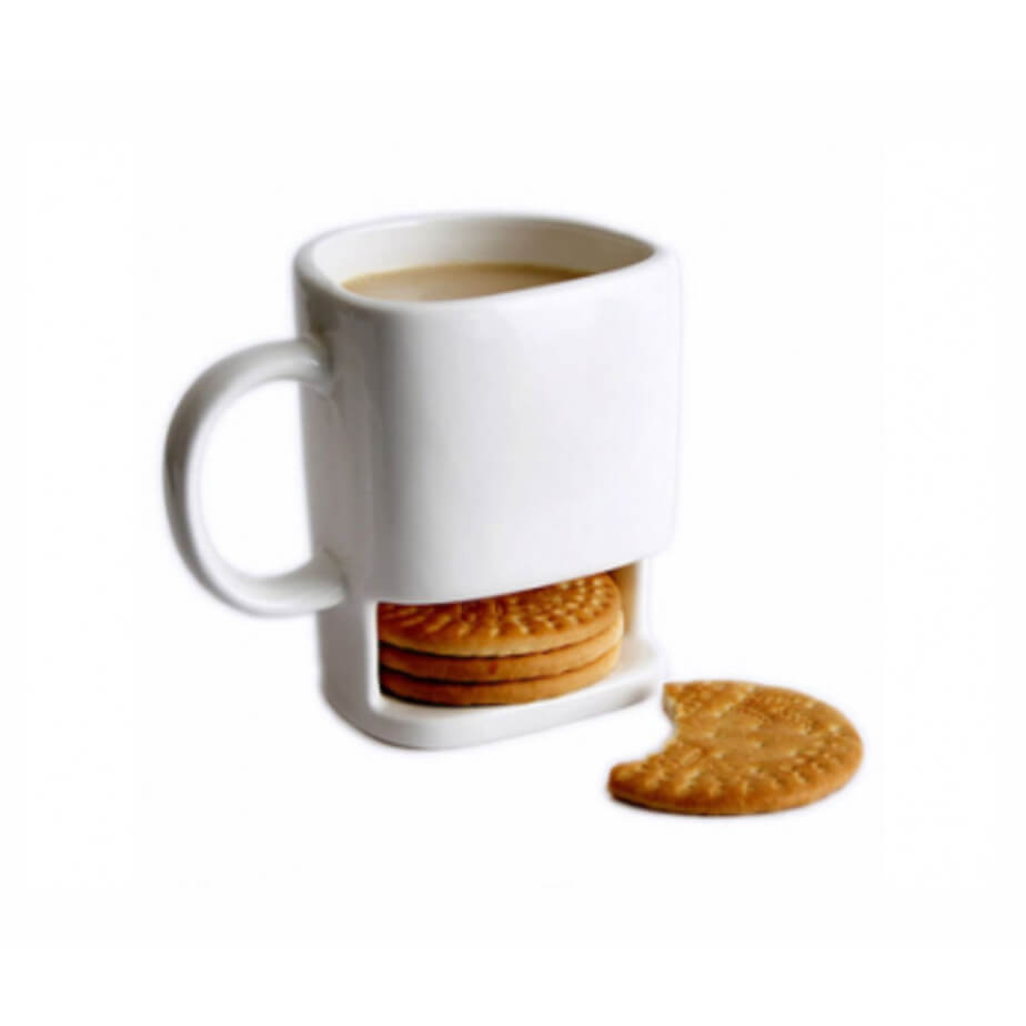 White Ceramic Cookie Mug With Cookie Holder Section At The Bottom