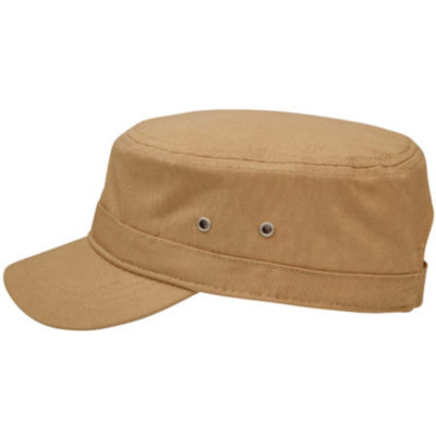 The Fidel Cap has a military style, unstructured cap with metal eyelets. Made from brushed cotton twill