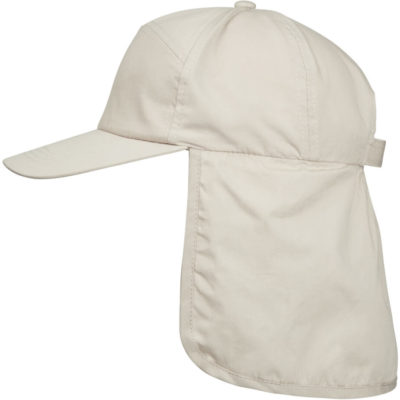 The Kids Fisherman Cap is a UV protected polyester cotton stone cap with fade resistant qualities, a self fabric velcro strap for easy adjustment and a back flap for added neck protection against the weather conditions