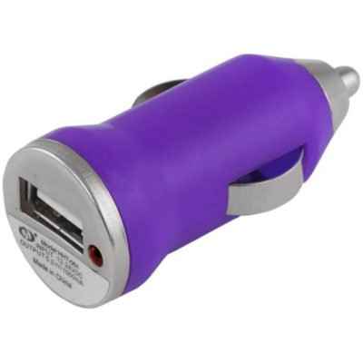 The Car Lighter USB Charger Is Made From Purple Plastic With A Single USB Connection And It Charges Digital Products. Fits into the electrical port in your car