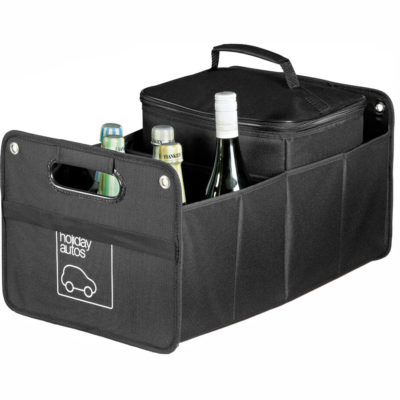 The black Drive-Time Cargo organizer is made from 600D. The organizer is collapsible carrier as well as contains a removable 12 can cooler with a PVC lining.