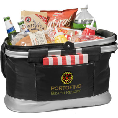 The Hampton Basket Cooler holds up to 30 average size cans, the cooler is made from 210D with PEVA lining and a collapsible metal frame & handle.