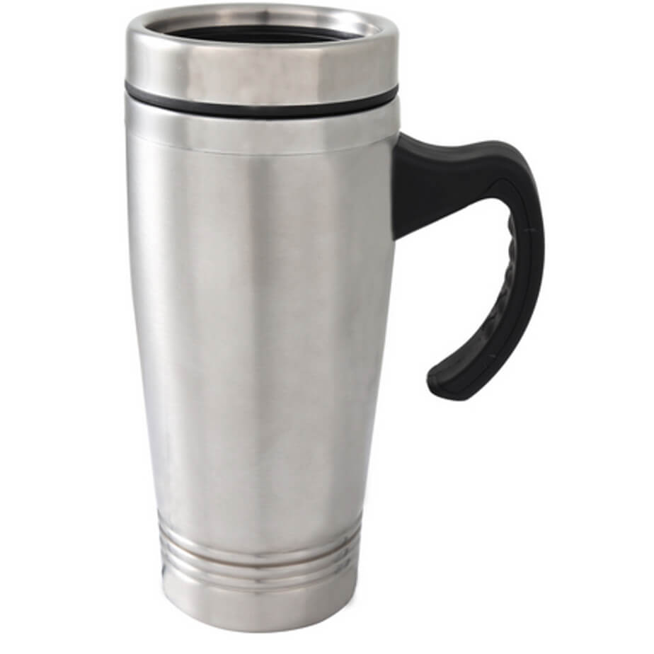 Silver Stainless Steel Double Wall Thermal Mug With Insulated Lid