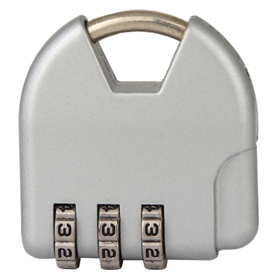 The Silver Mini Combination Lock Is Made From Metal And Packaged In A Gift Box.