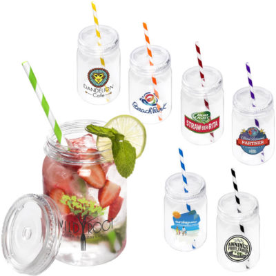 The Fiesta Jam Jar is made from BPA free transparent PS plastic with a colour candy stripe straw. A capacity of 700ml with a twist off jar lid