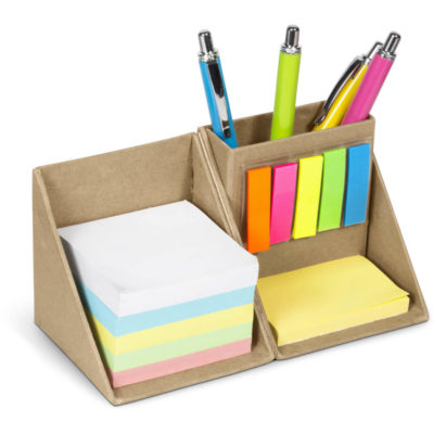 The Cubix Desk Mate to display its brightly coloured sticky notes and flags with a compartment for storing pens