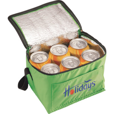 The Buddy Cooler can hold 6 regular size cans. Made from 210D material with foil lining and a front pocket.