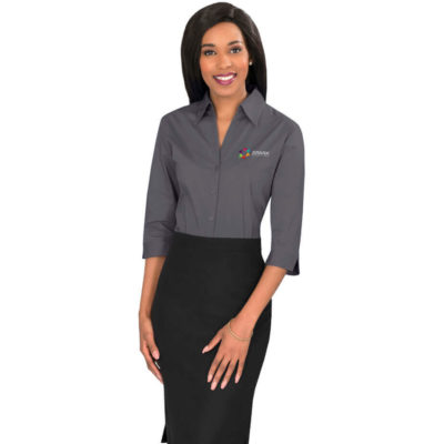 The Ladies 3/4 Sleeve Metro Shirt is made from 115 g/m2, 60% cotton, 35% polyester and 5% elastane.