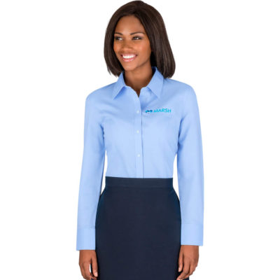 The Ladies Long Sleeve Epic Shirt is made from polyester and cotton. It has a button down collar, front placket, barrel cuffs, double back-pleat and chest pocket. It is a slim fit with a wrinkle resistant finish to make it look extra professional. There is a C&B pennant at the left cuff.