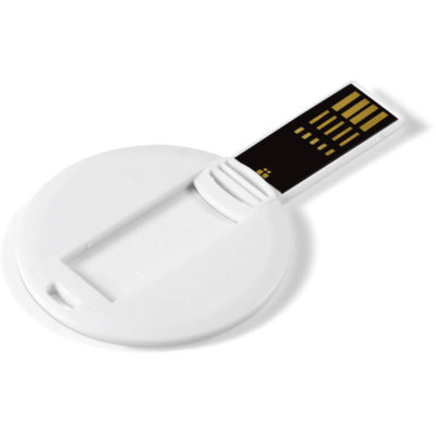 The Picasso Round Memory Stick has a disk shape and a usb piece attached to it. Comes in a solid white and you can place your print on the disk area.