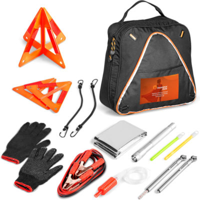 The Roadster Vehicle Emergency Kit is safe and convenient. The kit fits into a zippered carry case with a orange piping.