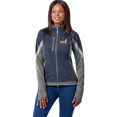 The Ladies Jozani Hybrid Softshell Jacket has a contrast colour collar detail. Center front exposed reverse coil zipper with easy grip logo zipper pull with contrast chin guard.