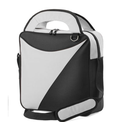 The Premiere Laptop Bag made from 600 denier with a padded shoulder strap, two tone colour pattern design with carry handles and a zip compartment, available in a grey-black colour.