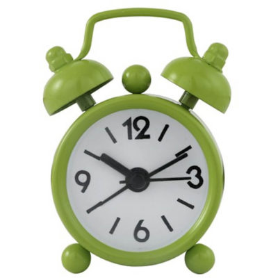 The Mini Twin Bell Alarm Clock in the colour Lime green made from metal.
