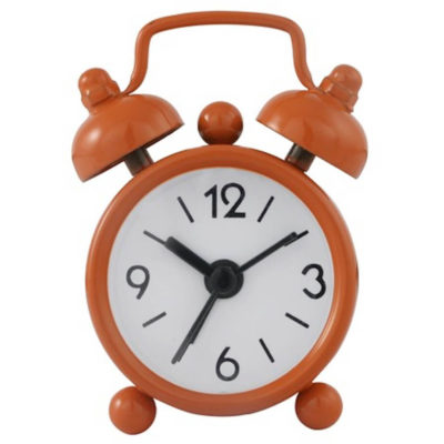The Mini Twin Bell Alarm Clock in the colour orange made from metal.