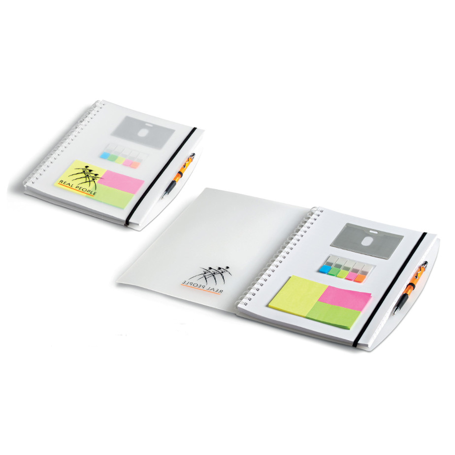 The Herald A4 Notebook has a PU cover with 70 lined pages, a spiral spine, elastic band closure, a pen loop and business card holders.