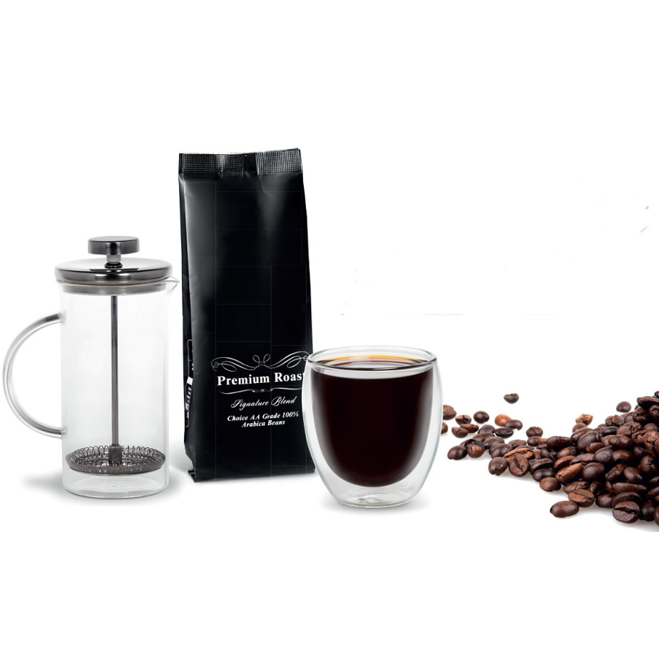 The Cafetiere Coffee Set Is Made From Borosilicate Glass And Stainless Steel Plunger With 100g Premium Roast Coffee Beans.