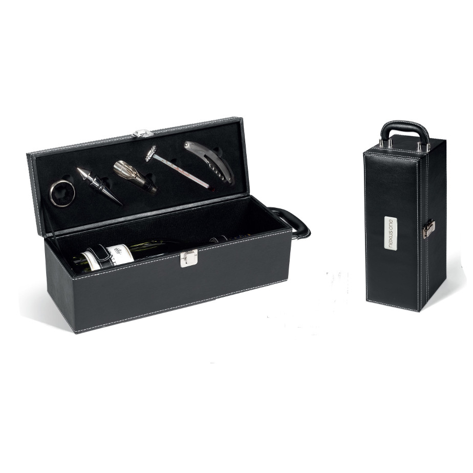 The Bodega Wine Set Features A Corkscrew With A Leak Proof Ring, Thermometer And A Stopper With A Pourer.