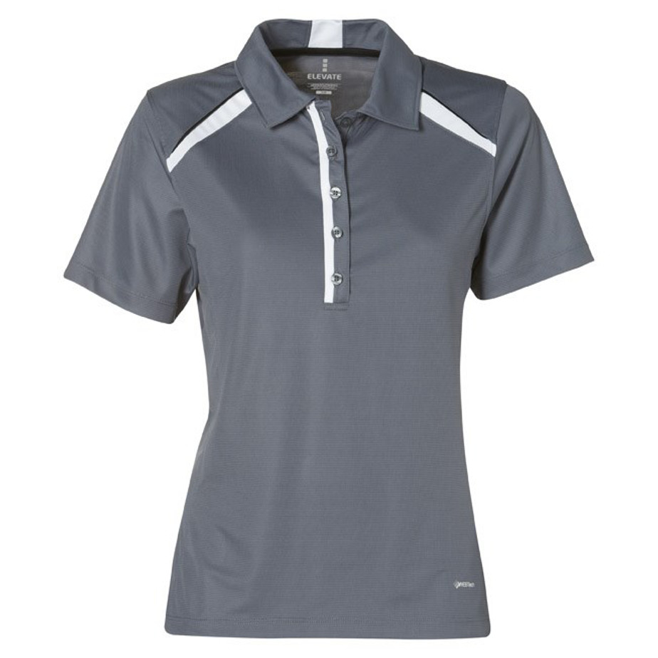 Grey Quinn Ladies Golf Shirt Is Made From 100% Micro Polyester.