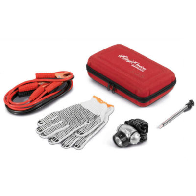 Drivetime Vehicle Emergency Kit With A Booster Cable, A Pressure Gauge, Safety Gloves, Headlamp And Rain Poncho In A Red Hard Shell Case.