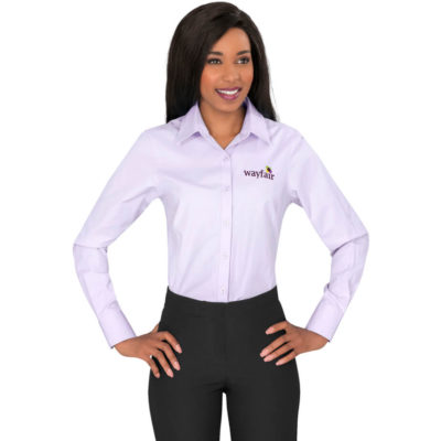 The Purple Sycamore Ladies Long Sleeve Shirt Is Made From Cotton And Polyester. The Shirt Has A Two Button Adjustable Cuffs, Single Button Sleeve Plackets, Tone-On-Tone Buttons And A Curved Hem.