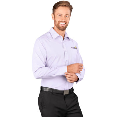 The Purple Sycamore Mens Long Sleeve Shirt Has An Upper Patch Pocket, Removable Collar Stays, Center Back, Box Pleat And A Hanger Loop At Inside Back Neck.