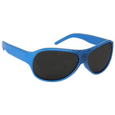 The Kids Sunglasses are blue plastic framed sunglasses with black tinted lenses