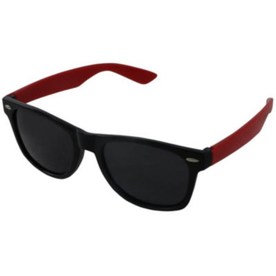 The Drifter Sunglasses in red are standard looking unisex plastic glasses with dark tinted lenses for UV protection.