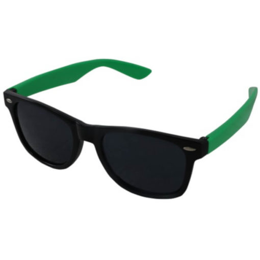 The Drifter Sunglasses in green are standard looking unisex plastic glasses with dark tinted lenses for UV protection.