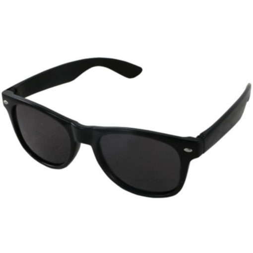 The Drifter Sunglasses in black are standard looking unisex plastic glasses with dark tinted lenses for UV protection.