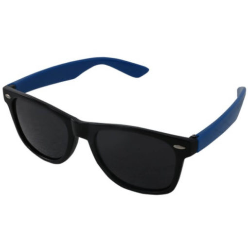 The Drifter Sunglasses in blue are standard looking unisex plastic glasses with dark tinted lenses for UV protection.