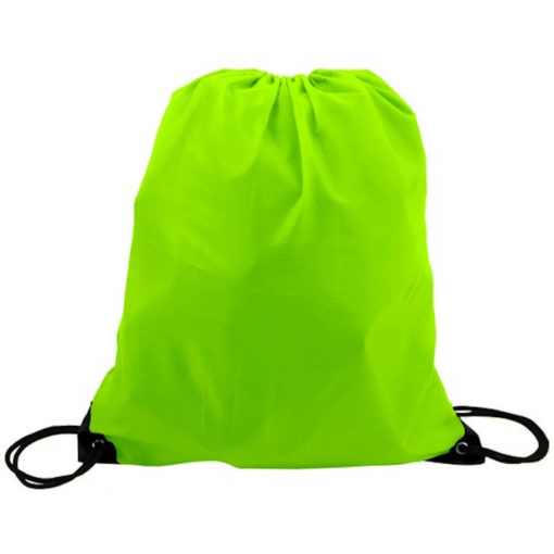 The Lime Green 210D Poly String Bag Is Made From 210D Polyester. The Bag Has Reinforced Eyelets.