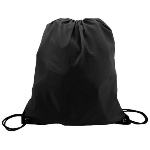 The Black 210D Poly String Bag Is Made From 210D Polyester. The Bag Has Reinforced Eyelets.
