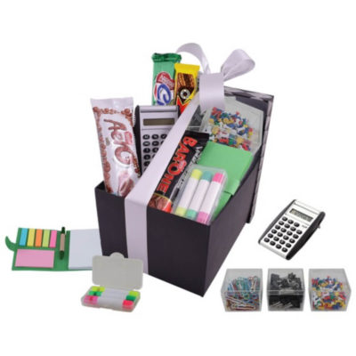 The Stationery Hamper packaged in a black and white check lid box with a whitw ribbon contains 1 x sticky memo mini notepad & pen, 1 x combo stationery set in three transparent boxes, 1 x wax highlighter set, 1 x flip up calculator, 1 x 55g nestle bar one, 1 x 49g nestle tex and 1 x 48g nestle aero