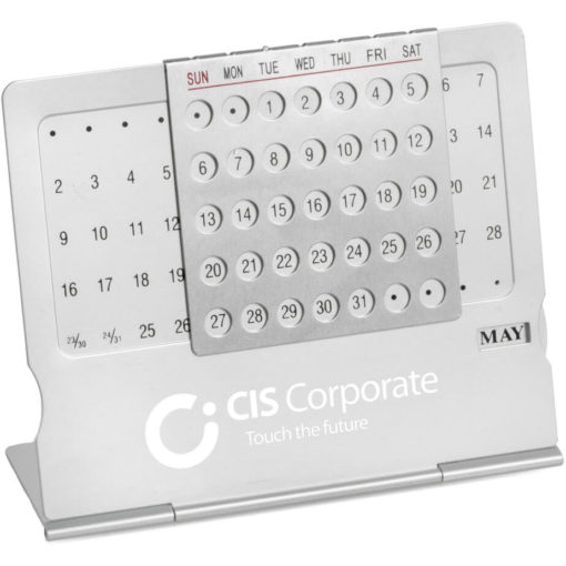 the Make-A-Date Perpetual Calendar is a slimline aluminium desk accessory with a movable date marker to match the calendar dates and a wheel dial on the side to select a month
