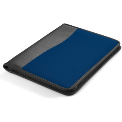 The Freestyle A4 Zip Around Folder in Navy is a rectangular shaped folder with a grey border on the left side and holds A4 sized paper.