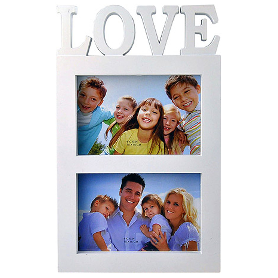 The White Love Photo Frame Is Made Of Plastic. The Frame Can Hold 2 Photos.