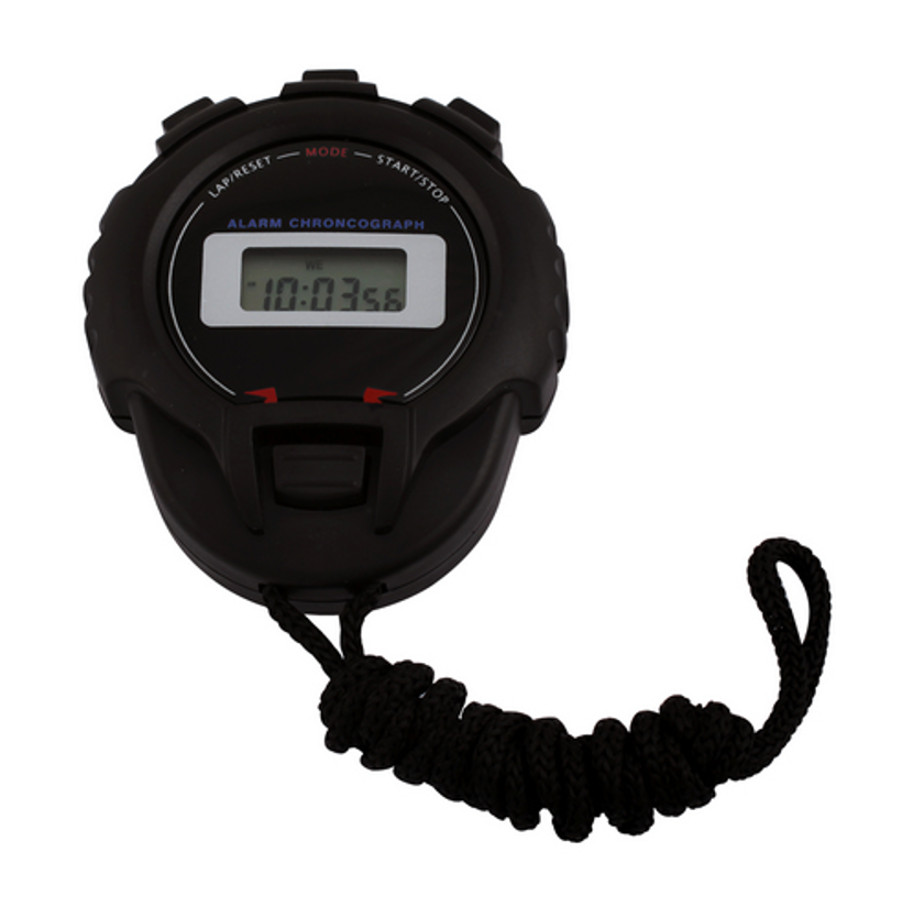 The Stopwatch Timer is a black plastic stopwatch attached to a lengthy neck cord